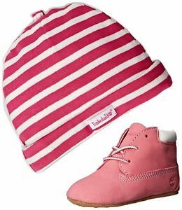 Details zu Timberland Baby Schuhe 9680R BABY BOOTIES + Mütze Crib Bootie Pink Nubuck
