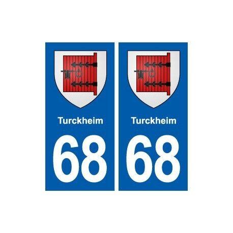 68 Turckheim blason autocollant plaque stickers ville -  Angles : droits