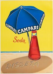Original-Vintage-Poster-Campari-Soda-disseta-Plage-Milano-liqueur-1970