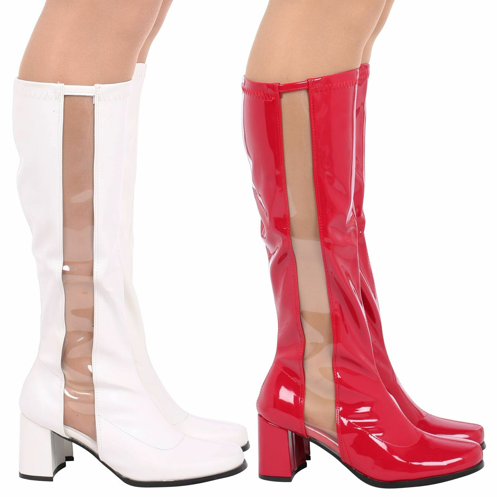 Ginger Womens Mid Block Heels Clear Side Panel Mid Calf Boots Ladies Shoes Size