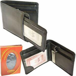 New Men Genuine Black Leather Wallet Holds Debit//Credit Cards Coins Gift UK