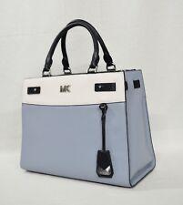 79c9c75c2a0 Michael Kors Reagan Large Leather Satchel/Shoulder Bag in Pale Blue/White /Admira