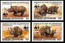 Central African Republic Endangered Black Rhino set of 4 with WWF Panda Logo MNH