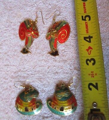 Vtg Lot 2 Pair Set Edgar Berebi Enamel Articlated Moving Head Kitty Cat Earrings