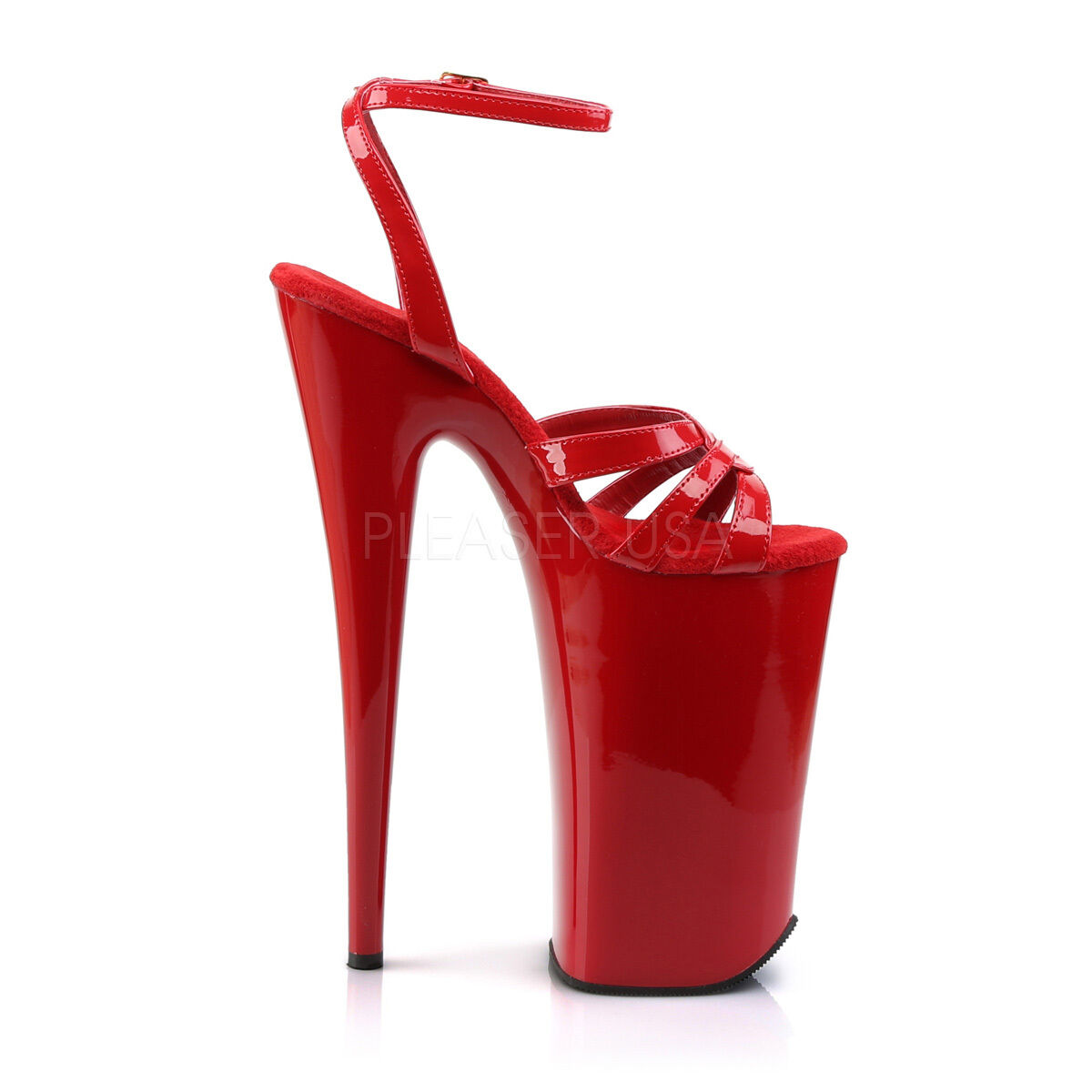 PLEASER BEY012 R R R M Sexy shoes Exotic Strappy Red Platform 10  Extreme High Heels 73629d