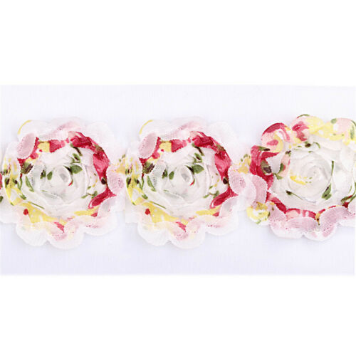 1 Yard Floral Chiffon Camellia Flower Tulle Mesh Lace Trim Headband Bridal Dress