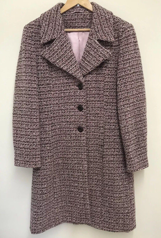 Wallis Womens Pink Wool Blend Boucle Knit Style Long Winter Coat Size 14UK