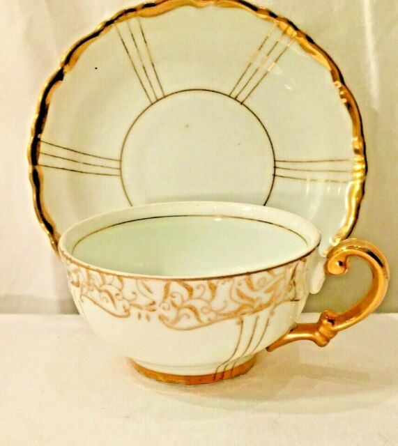 Vintage Seyei Fine Bone China Japan Tea Cup And Saucer White Gilt Gilt Trim