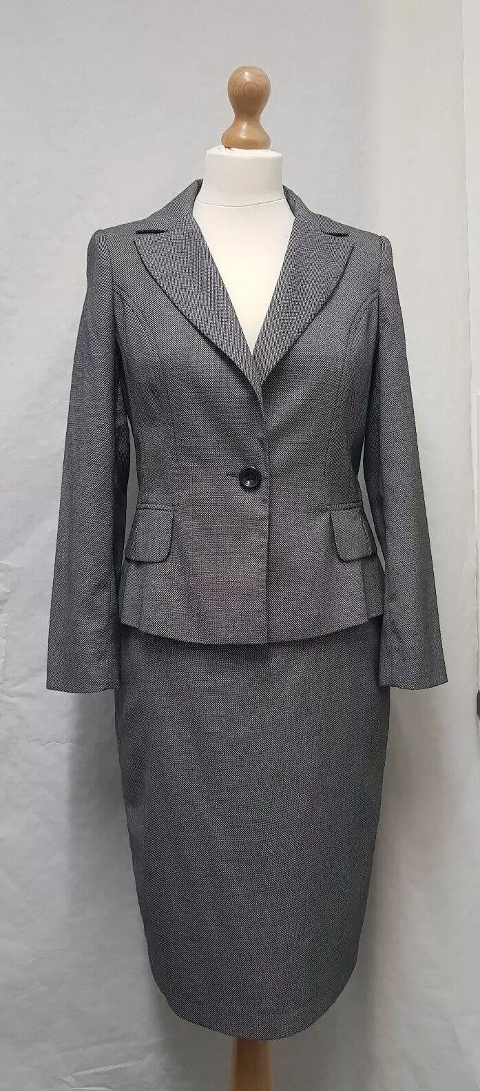 Wallis Petite Skirt Suit Size  8 Grey Business Suit Womens Tailored Suit