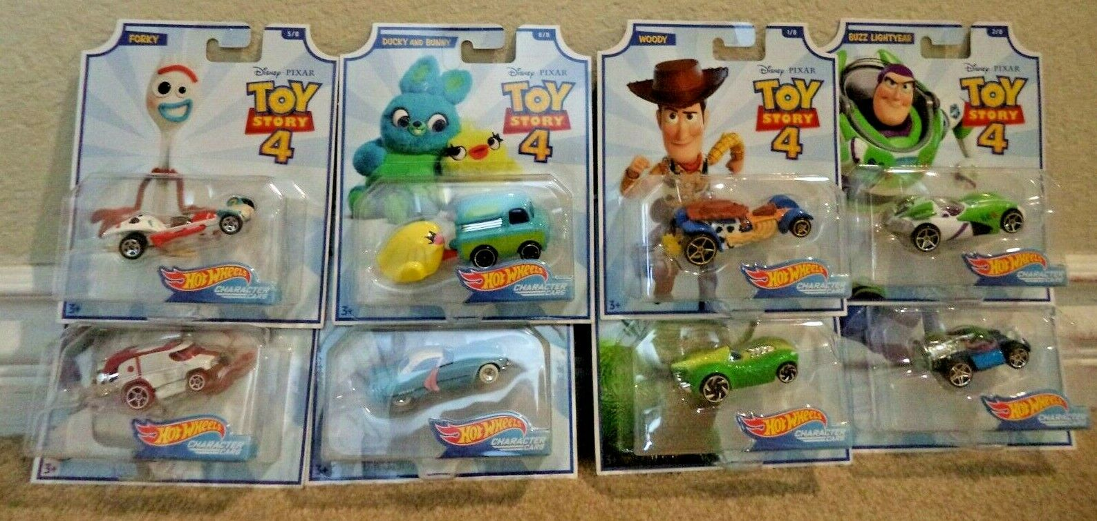 HOT WHEELS TOY STORY 4 WAVE 1 & 2  SET OF 8 DUCKY & BUNNY BO PEEP DUKE NEW