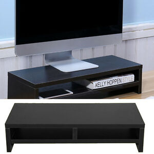 Computer Monitor Stand Desk Table 2 Tier Shelf Laptop Riser LCD TV