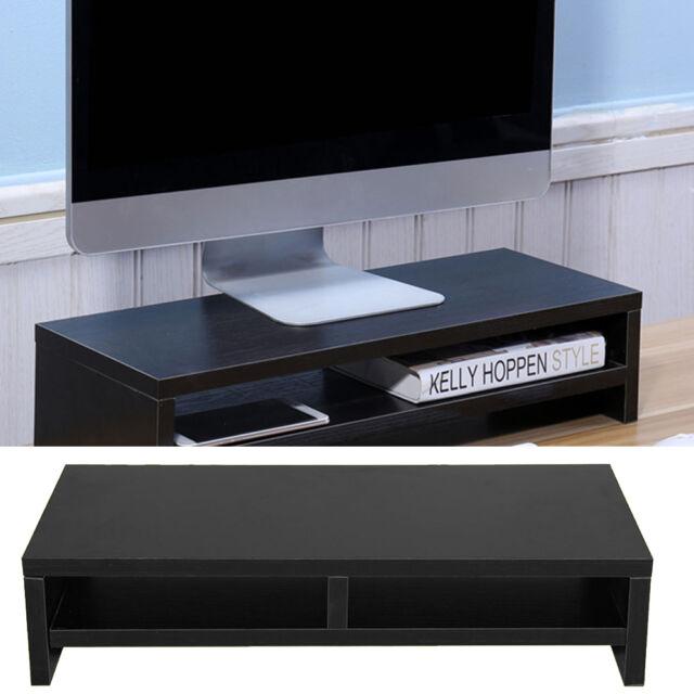 Black Wood Desktop Monitor Stand Shelf Plinth Lcd Laptop Computer Screen Riser