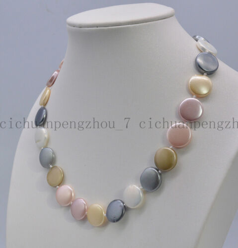 Rare Huge 14mm Multi-color South Sea Coin Shell Pearl Necklace 18.5/'/' AAA