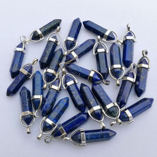 Wholesale Natural lapis lazuli stone Pendant 24pcs Hexagonal pillar Pendulum