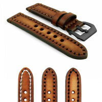 Strapsco Vintage Watch Band In Brown W Contrast Stitching W Black Pre-v Buckle