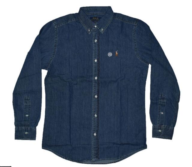 9d12b35110 Mens Polo Ralph Lauren Slim Fit Long Sleeve Shirts - Denim Dark Wash ...