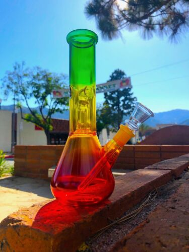 8-9/'/' Hookah Glass Water Pipe Bong Rasta Style W Ice Catcher USA Fast Shipping