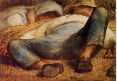 Millet•Meridian•High Noon•Peasants napping in the field•Art Postcard