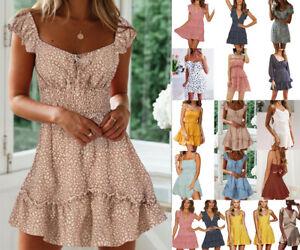 Women-Holiday-Mini-Polka-Dot-Dress-Ladies-Bodycon-Beach-Summer-Mini-Dresses-Size
