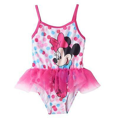Toddler Girls 4T Disney Minnie Mouse Pink White Striped Tankini Swimsuit Swim