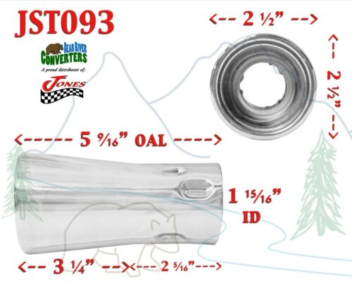 """JST093 PAIR 1.75/"""" Stainless Round Exhaust Tip 1 3//4/"""" Inlet 2 1//2/"""" Outlet 5/"""" Long"""