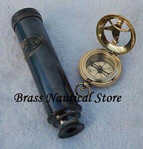 Vintage Maritime Pocket Spyglass Brass Telescope Nautical Sundial Compass Set@