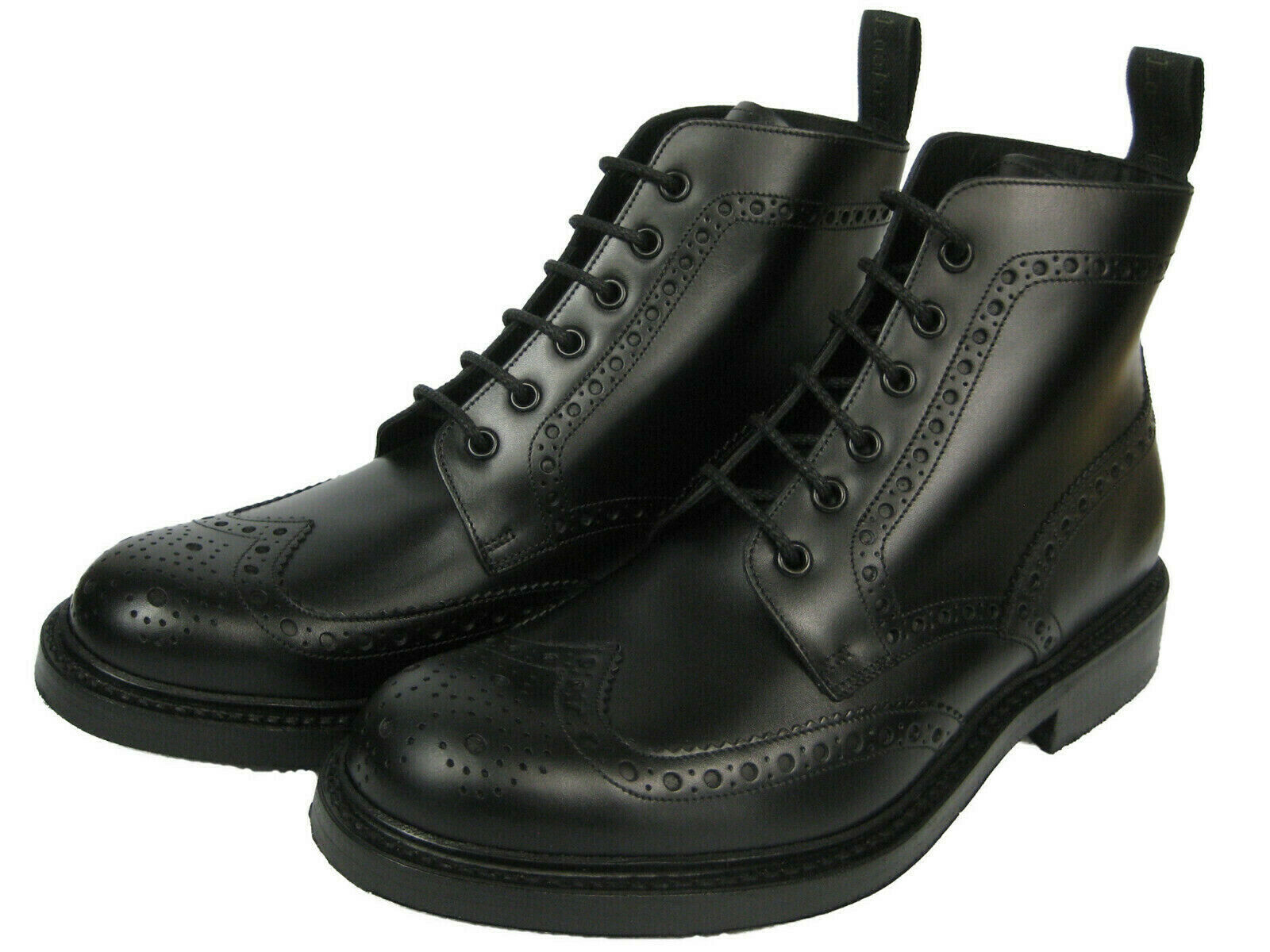 Loake BEDALE Leather Boots Shoes Brogue Boat Frame Sewn Budapest Black