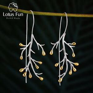 Unique-Statement-Tree-Leaf-Large-Big-Drop-Earrings-925-Sterling-Silver-for-Women