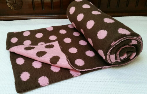 Rochdale Boutique 100/% Pure Cotton Knit Baby Blanket Shawl Pink Brown Knitted