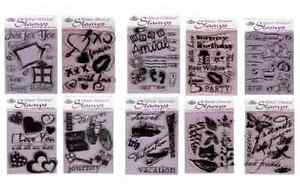 PICK-FROM-23-RUBBER-STAMP-SETS-amp-CLEAR-ACRYLIC-STAMPING-BLOCK-CRAFT-CARD-MAKING
