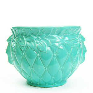 Vintage-McCoy-Pottery-Quilted-Jardiniere-Green-Gloss-Shabby-Chic-Inv-M8-50