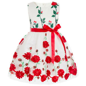 Children-039-s-Girls-039-Bow-knot-Embroidered-Sequined-Sash-Red-Flower-Floral-Dress-O25