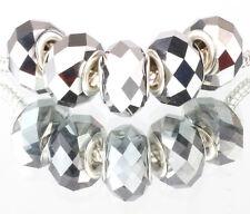 5P MURANO Multi-faceted Crystal bead LAMPWORK fit European Charm Bracelet B#528