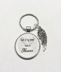 Half Of My Heart Lives In Heaven Memory Guardian Angel Wing Miss You Keychain