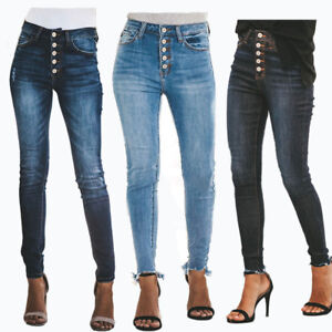 5a44c1f2c0593 UK Women High Waisted Denim Skinny Fit Jeans Ladies Jeggings ...