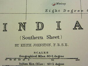 1911 Large Victorian Map ~ India Southern Section ~ Mysore Madras Burma Ceylon Antiques