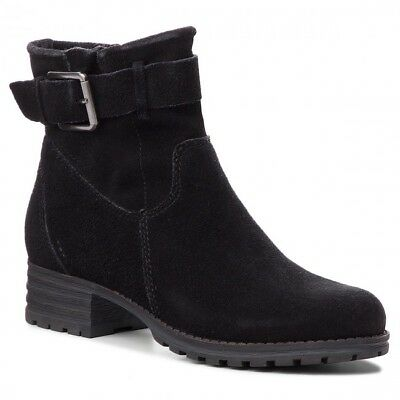 Clarks Ladies Marana Amber Black Suede Ankle Boots With Buckle And Cleated Sole