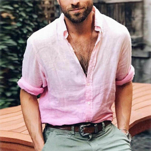 Men/'s Linen Long Sleeve Shirt Cool Loose Summer Casual V-Neck Shirts Tops  M-3XL