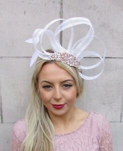 Image is loading White-Rose-Gold-Cream-Silver-Sinamay-Feather-Fascinator- a89bae44b19