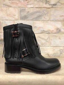 VALENTINO-ROCKSTUD-Black-Pebble-Leather-Fringe-Biker-Ankle-Boots-NIB-38-5-1495