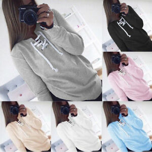 Women-Lace-Up-V-Neck-Long-Sleeve-Casual-Loose-Pullover-Hoodie-Loose-T-Shirt-Tops