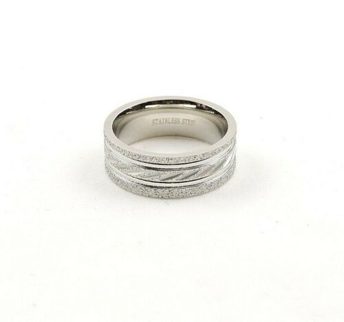 Free Gift Packaging Stainless Steel Textured Comfort Fit Wide Band Ring