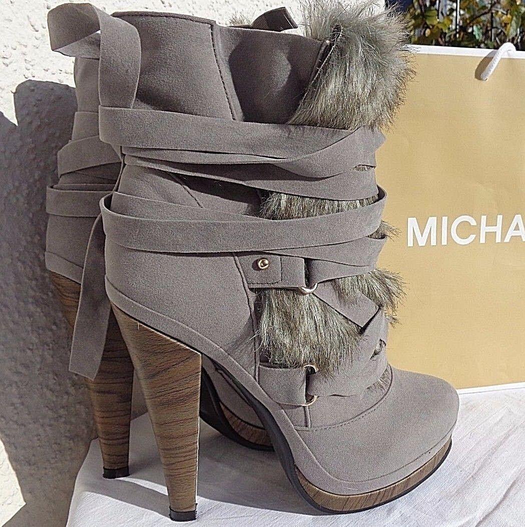 Sexy High Heel Plateau Ankle Stiefel Fake Fake Fake Fell Schnür Stiefeletten Gr. 37,5 NEU  heiße Rabatte