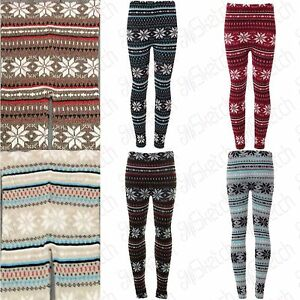 c68c4988c7c5a5 New Ladies Women's Soft Knitted Christmas Snowflake Leggings UK 08 ...