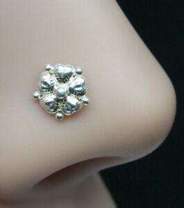Indian 925 Sterling Silver Nose Stud Corkscrew Piercing Nose Ring