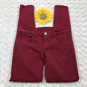 American-Eagle-Womens-Jegging-Pants-Size-0-Stretch-Skinny-Ankle-Maroon-es381