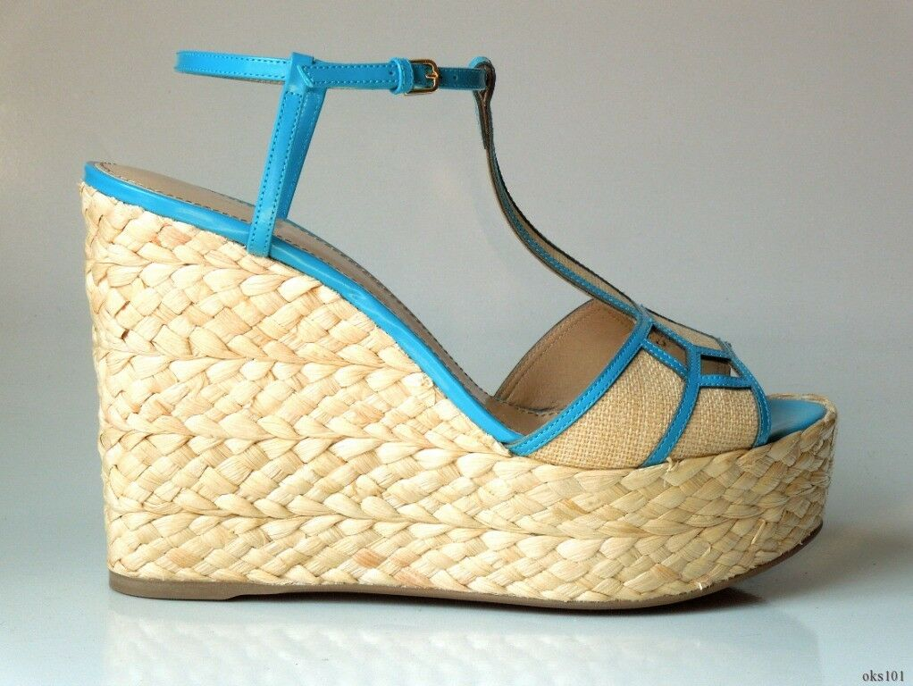 New  735 SERGIO ROSSI open-toe turquoise T-strap platforms WEDGES shoes 40   10