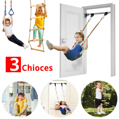 Indoor//Outdoor Playground Play Set Swing,Rings,Rope Ladder Xmas Gifts For Kids