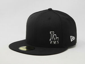 New-Era-59Fifty-Hat-Mens-MLB-Los-Angeles-Dodgers-Black-Flawless-Fitted-Cap-5950