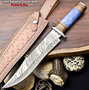 Cutlery Salvation Handmade Damascus Steel Blade Hunting Bowie Knife   Camel Bone